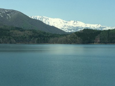 Aoki Lake with the Snow-capped Hakuba Range in the Distance
